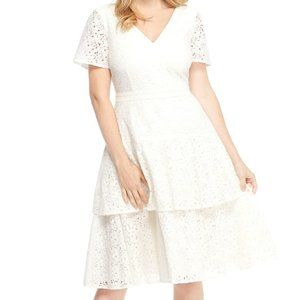 Gal Meets Glam Doris Bow Back Tiered Lace Dress